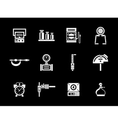 White glyph measurement equipment icons set vector