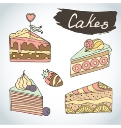 Hand drawn sweet cakes set bakery elements vector
