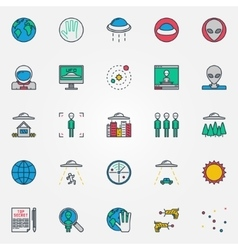 Ufo and aliens flat icons vector