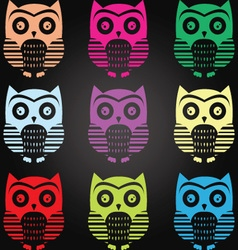 Chalkboard Owl Collection vector image