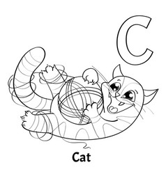 alphabet letter c coloring page cat vector image vector image