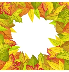 Autumn leaves frame in flat design vector