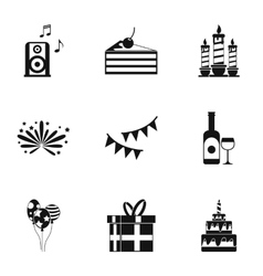 Birthday party icons set simple style vector