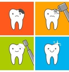 Caries treatment process vector