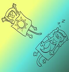 cat lying under blanket vector image vector image