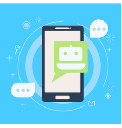 Chat bot on phone vector
