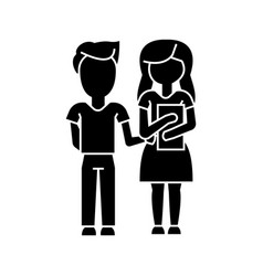 children school boy and girl with book ico vector image