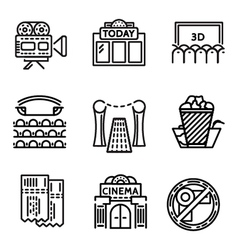 Cinema flat line icons vector image