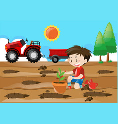 farm scene with boy planting in the field vector image vector image
