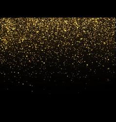 Golden rain isolated on black background vector