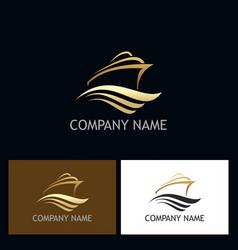 golden ship ocean logo vector image vector image
