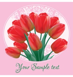 Greeting card with a bouquet of red tulips vector image
