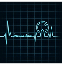 heartbeat make innovation word and light-bulb vector image