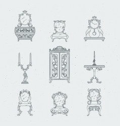Home antique furniture chairs dresser bedside vector