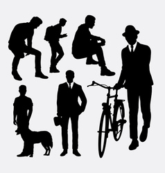 Man action silhouettes vector image