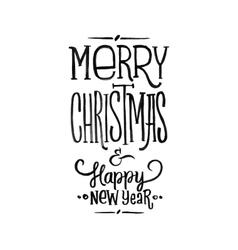 Merry christmas happy new year retro poster vector