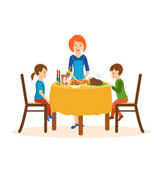 Mom cooks on a dinner children sit of the table vector