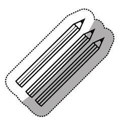 monochrome sticker silhouette with pencils set vector image