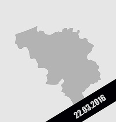 Mourning Ribbon on a map of Belgium Terrorist vector image