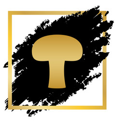 Mushroom simple sign golden icon at black vector