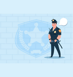 Policeman with chat bubble wearing uniform cop vector