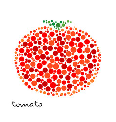 red tomato silhouette created from dots vector image vector image