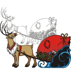 Sleigh and reindeer - vinyl-redy vector image