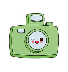 vintage photographic camera cute kawaii cartoon vector image vector image