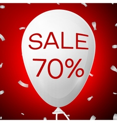 White baloon with text sale 70 percent discounts vector