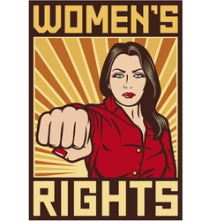 Women rights poster - pop art woman punching vector