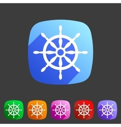 Yacht wheel helm sea icon web sign symbol logo vector