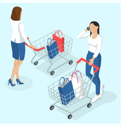 Young women with shopping cart vector
