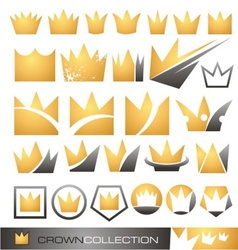 Crown symbol and icon set vector image