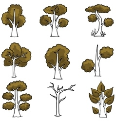 Set of brown tree doodles vector image