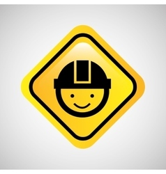 Worker man helmet sign yellow icon vector