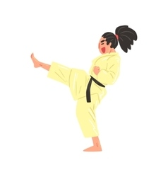 Karate professional fighter in kimono kicking with vector