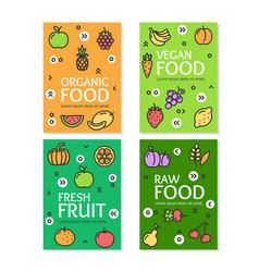 Fresh fruit raw organic vegan food flyer banner vector