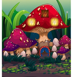 A big mushroom house with a blue curtain vector