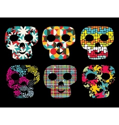 Set of cute skulls vector