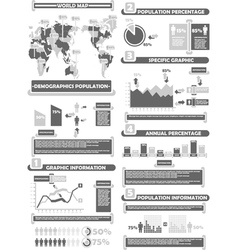Infographic demograp world percentage grey vector