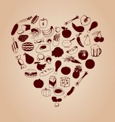 heart from meal vector image