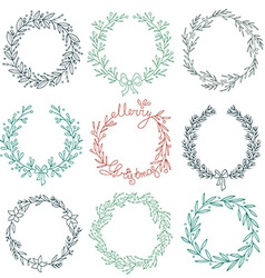 Set of winter wreaths vector