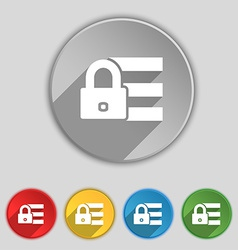 Lock login icon sign symbol on five flat buttons vector