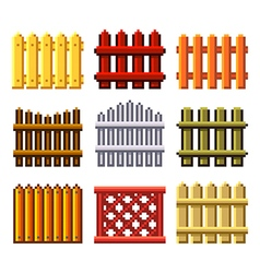 Pixel fences for games icons set vector