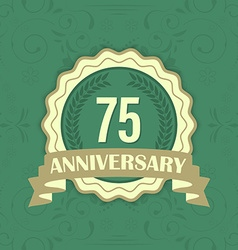 75th anniversary label on a green ornament vector