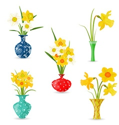 collection vases with yellow spring flowers vector image