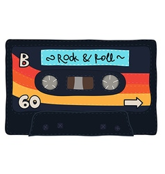 Vintage cassette tape stitched together vector