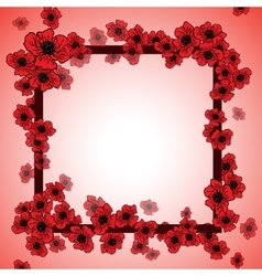 Background and floral frame with poppies vector