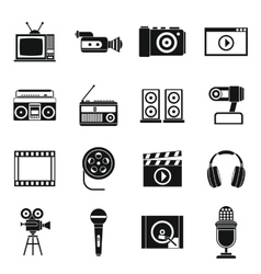 Audio and video icons set simple style vector