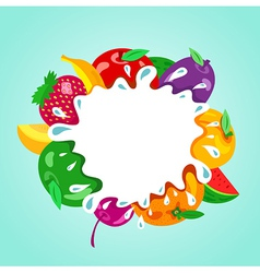 Assorted fruit splash element vector